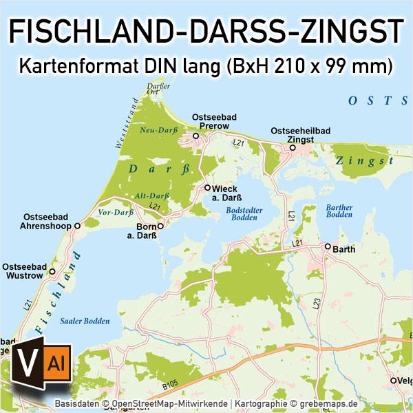 Fischland-Darß-Zingst Vektorkarte (DIN lang), Karte Fischland-Darß-Zingst, Karte Vektor, Vektorgrafik, Karte, Landkarte Fischland-Darß-Zingst, Darss
