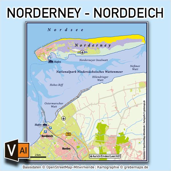 Norderney – Norddeich Vektorkarte Infokarte