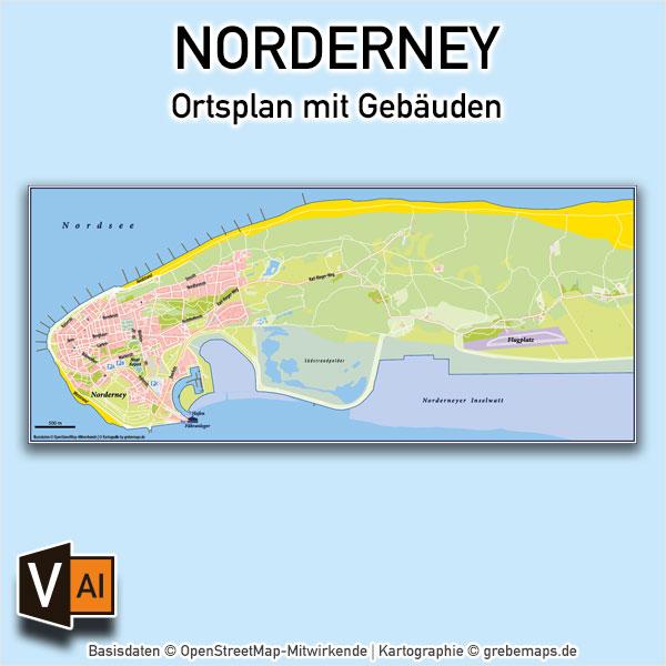 Norderney Ortsplan Mit Gebäuden Vektorkarte