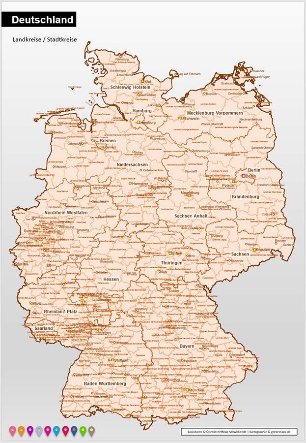 Deutschland PowerPoint-Karte Landkreise Bundesländer (DIN A3), Karte Landkreise Deutschland, Deutschland Karte Landkreise, Landkreise Karte