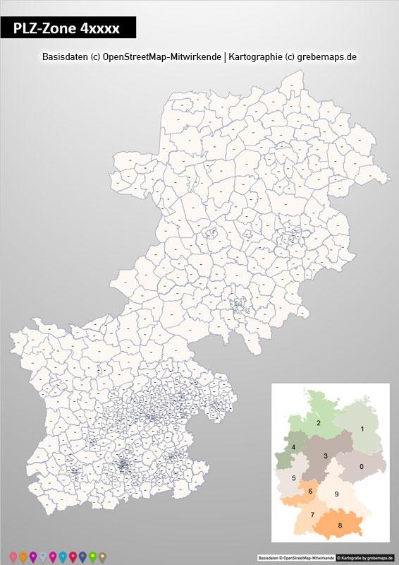 Deutschland PowerPoint-Karte PLZ-Zone 4 (Postleitzahlen 5-stellig), Karte PLZ-Zone 4 Deutschland, Deutschland Karte Postleitzahlenzone 4