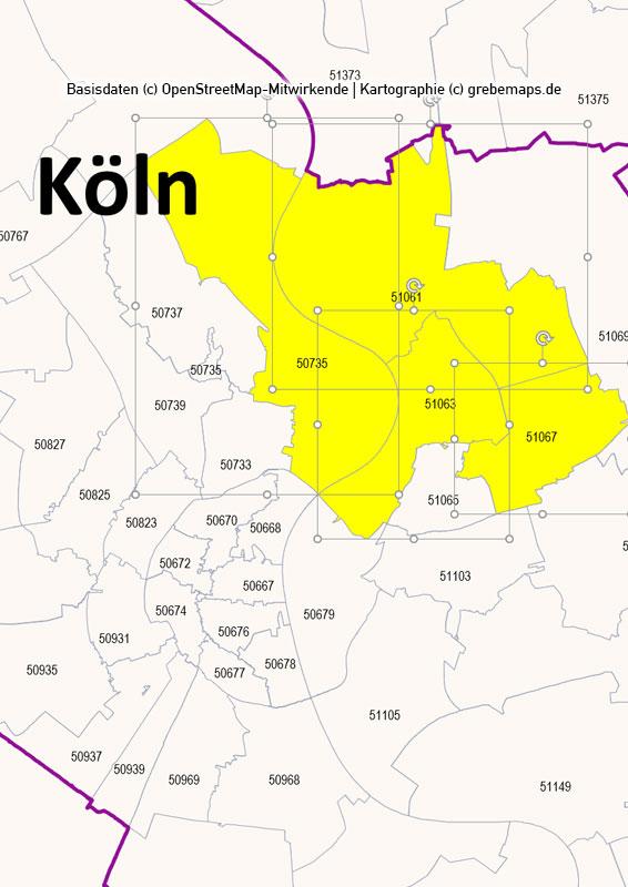 Deutschland PowerPoint-Karte PLZ-Zone 5 (Postleitzahlen 5-stellig) mit Köln/Bonn, Karte PLZ-Zone 5 Deutschland, Deutschland Karte Postleitzahlenzone 5 mit Köln Bonn