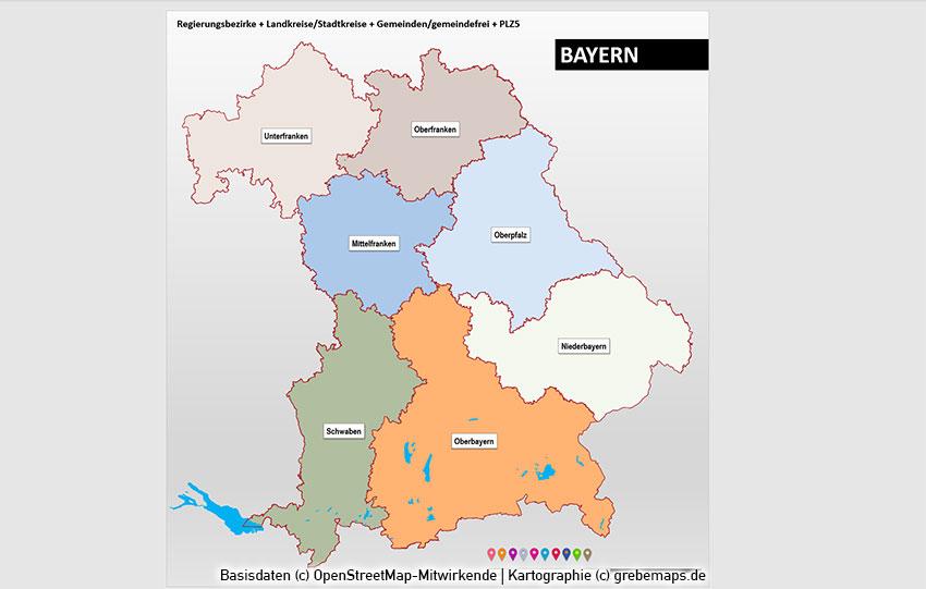 Bayern PowerPoint-Karte Landkreise Gemeinden Postleitzahlen PLZ-5, Karte Bayern Landkreise, Karte Bayern Gemeinden, Karte Bayern Postleitzahlen PLZ-5 5-stellig, Postleitzahlenkarte Bayern, Landkarte Bayern Gemeinden