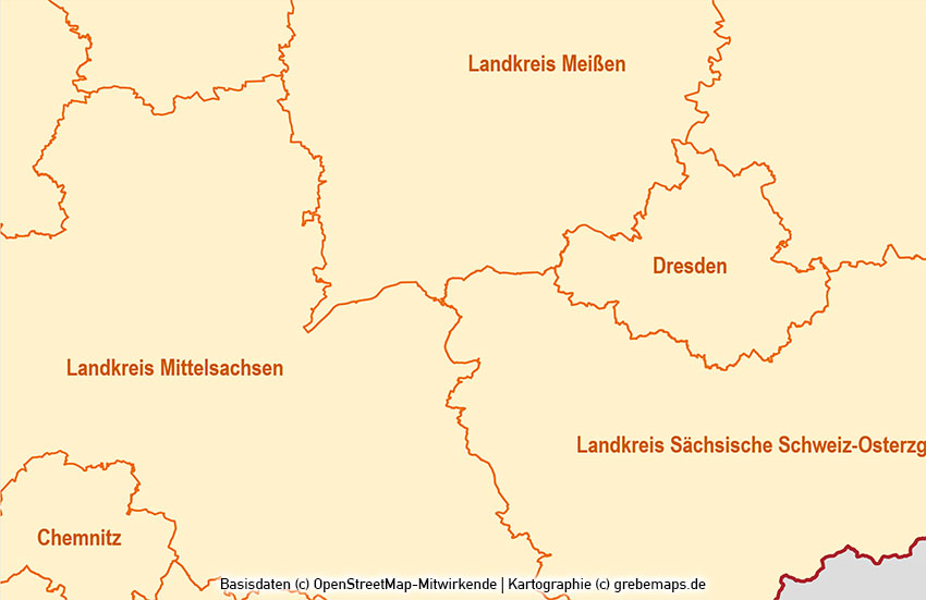 Sachsen PowerPoint-Karte Landkreise Gemeinden, Karte Sachsen Landkreise, Karte Sachsen Gemeinden
