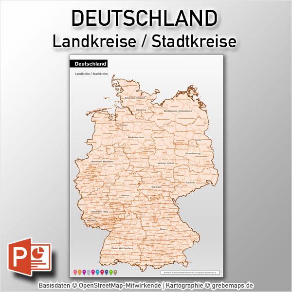 PowerPoint-Karte Deutschland Landkreise (DIN A3)