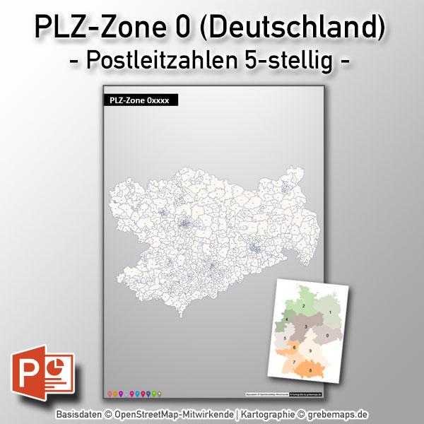 PowerPoint-Karte Deutschland PLZ-Zone 0 (Postleitzahlen 5-stellig)