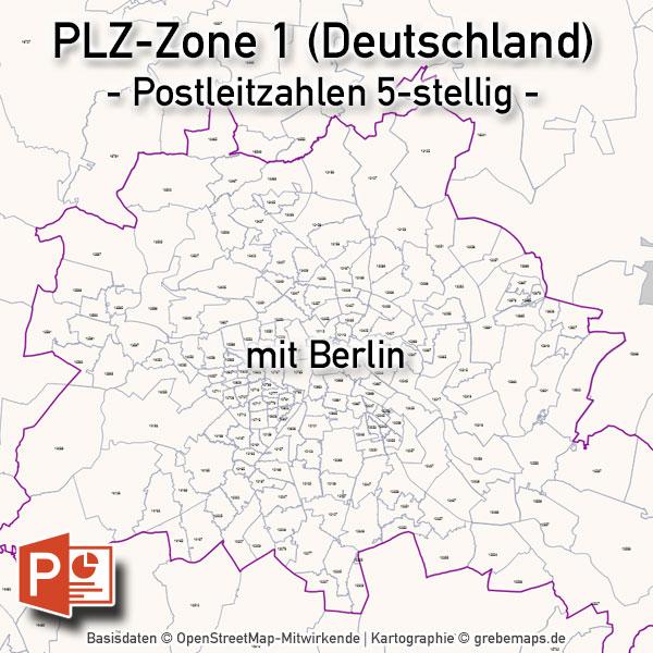Deutschland PowerPoint-Karte PLZ-Zone 1 (Postleitzahlen 5-stellig), Karte PLZ-Zone 1 Deutschland, Postleitzahlen Zone 1 Karte Deutschland Mit Berlin