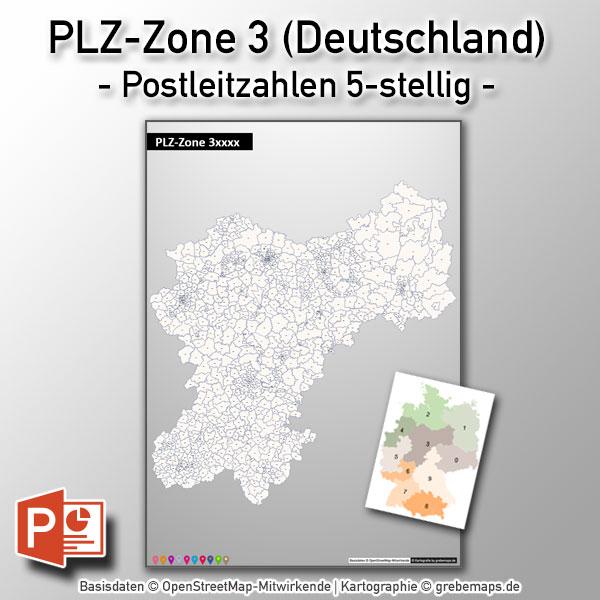 PowerPoint-Karte Deutschland PLZ-Zone 3 (Postleitzahlen 5-stellig)