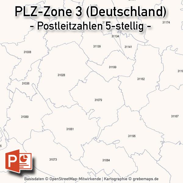 Deutschland PowerPoint-Karte PLZ-Zone 3 (Postleitzahlen 5-stellig), Karte PLZ-Zone 3 Deutschland, Deutschland Karte Postleitzahlenzone 3