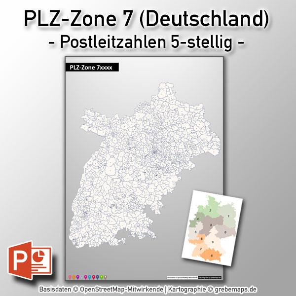 PowerPoint-Karte Deutschland PLZ-Zone 7 (Postleitzahlen 5-stellig)