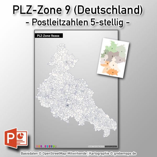 PowerPoint-Karte Deutschland PLZ-Zone 9 (Postleitzahlen 5-stellig)
