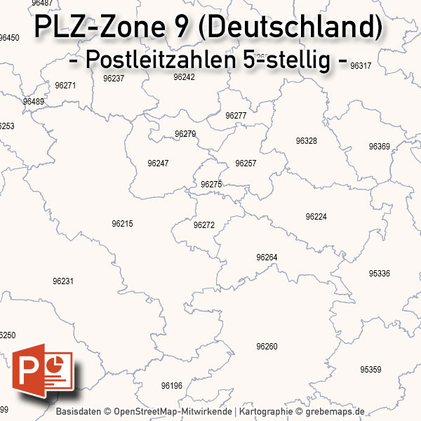 Deutschland PowerPoint-Karte PLZ-Zone 9 (Postleitzahlen 5-stellig), Karte PLZ-Zone 9 Deutschland, Deutschland Karte Postleitzahlenzone 9