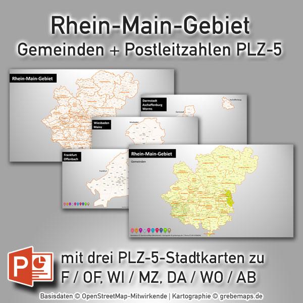 PowerPoint-Karte Rhein-Main-Gebiet Gemeinden Postleitzahlen PLZ-5 (PLZ 5-stellig)
