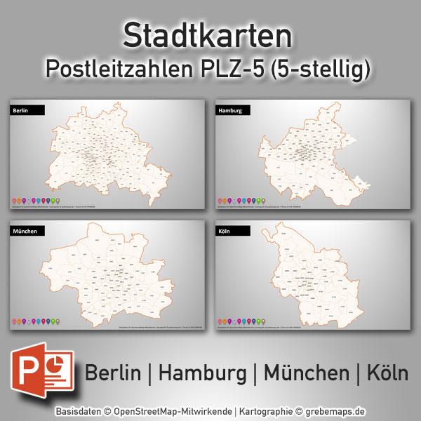 PowerPoint-Karte Stadtkarten Postleitzahlen PLZ-5 Berlin Hamburg München Köln