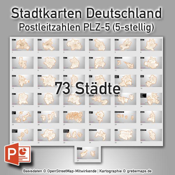 PowerPoint-Karte Stadtkarten Postleitzahlen PLZ-5 Deutschland (PLZ 5-stellig) – 73 Städte