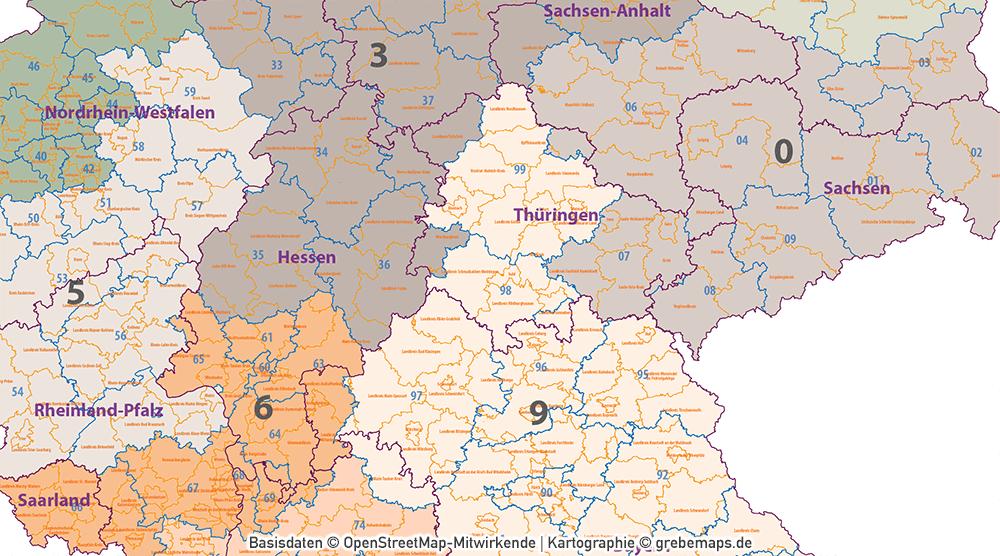 Deutschland Postleitzahlenkarte PLZ-1-2 mit Landkreisen Bundesländern Orte Vektorkarte, PLZ-Karte Deutschland 2-stellig, Karte PLZ 2-stellig Deutschland, Vektorkarte, AI-Datei, download