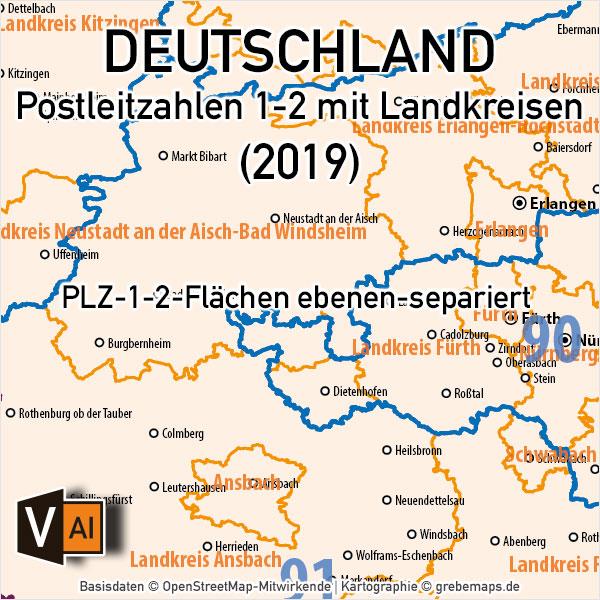 Deutschland Postleitzahlenkarte PLZ-1-2 mit Landkreisen Bundesländern, PLZ-Karte Deutschland 2-stellig, PLZ-Karte Deutschland, Karte Postleitzahlen Deutschland, Vektorkarte Postleitzahlen Deutschlan, AI-Datei, download