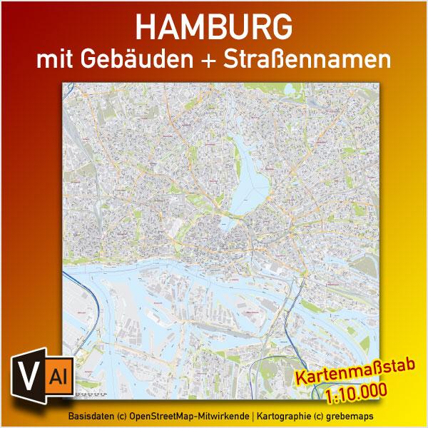 Hamburg Stadtplan Gebäude Strassennamen Vektorkarte 1:10.000