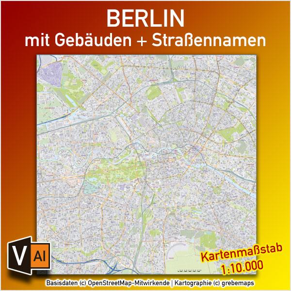 Berlin Stadtplan Gebäude Strassennamen Vektorkarte 1:10.000 Mit PLZ-5