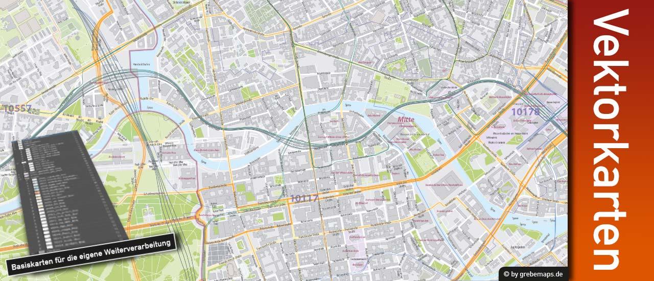 Vektorkarte Berlin 1:10.000 editierbar download, Stadtplan Berlin