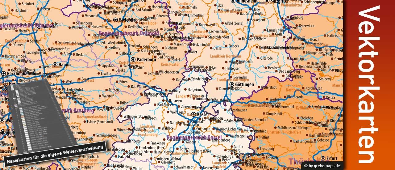 Vektorkarte Landkreise Deutschland editierbar download