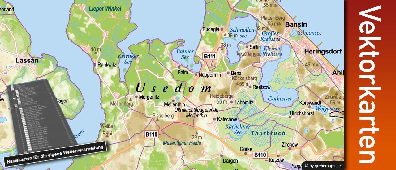 Vektorkarte Usedom editierbar download, Inselkarte Usedom, Karte Usedom