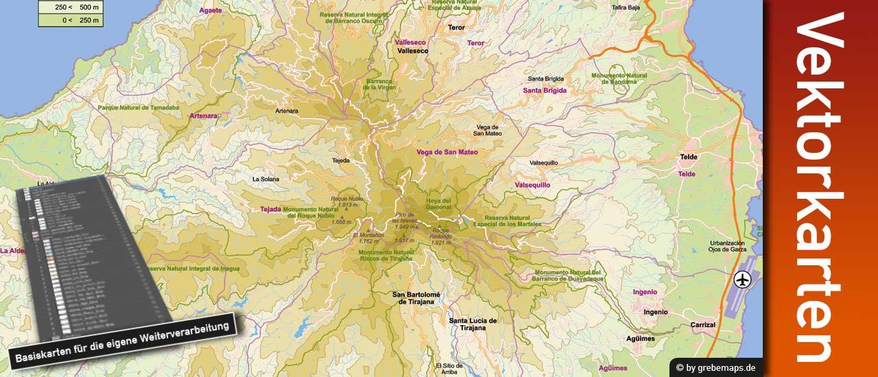 Vektorkarte Gran Canaria editierbar download, Landkarte mit Höhenschichten