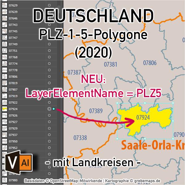 Deutschland Postleitzahlenkarte PLZ-1-5 Mit Landkreisen, Karte PLZ Deutschland Vektor, Vektorkarte PLZ Deutschland 5-stellig, AI-Datei, Download