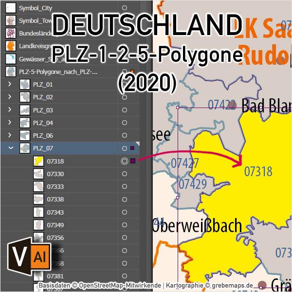 Deutschland Postleitzahlenkarte PLZ-1-2-5 mit Landkreisen Bundesländern, PLZ-5-Karte Deutschland, PLZ-2 Karte Deutschland, Karte Postleitzahlen Deutschland, editierbar, AI, download