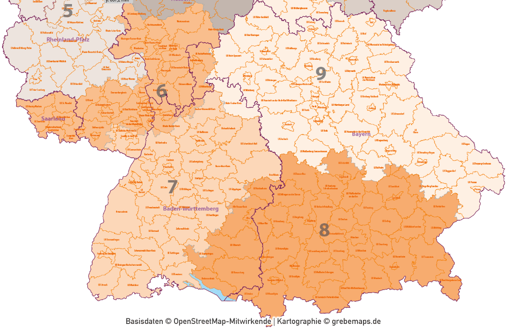 Deutschland Postleitzahlenkarte PLZ-1-2-3 mit Landkreisen Bundesländern Autobahnen Orten Vektorkarte, Karte PLZ 3-stellig Deutschland Vektor, PLZ-3-Karte Deutschland, AI, download, editierbar, Karte PLZ Deutschland 3-stellig