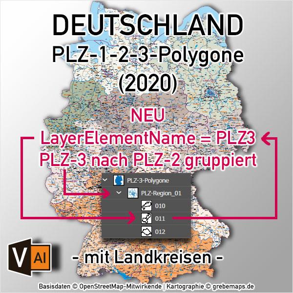 Deutschland Postleitzahlenkarte PLZ-1-2-3 Mit Landkreisen Bundesländern Autobahnen Orten Vektorkarte (2020)
