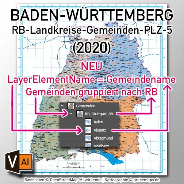 Baden-Württemberg Vektorkarte Regierungsbezirke Landkreise Gemeinden Postleitzahlen PLZ-5 (2020)